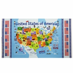 Planes, Trains and Automobiles USA Panel Cotton Fabric - Blue