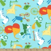 Play Date Wheels Cotton Fabric - Park Blue