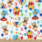 Play Time Circus Animals Cotton Fabric - White