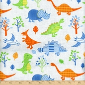 Play Time Dinosaurs Cotton Fabric - Blue