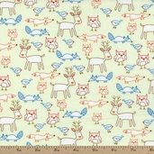 Play Time Forest Critters Cotton Fabric - Green