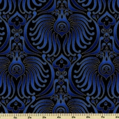 Plume Cotton Fabric - Baroque Wallpaper Fans - Royal Blue