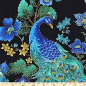 Plume Cotton Fabric - Beautiful Peacock - Black