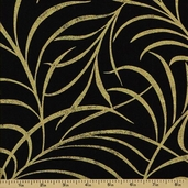 Plume Cotton Fabric - Large Plume - Black