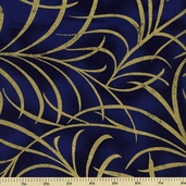Plume Cotton Fabric - Large Plume - Navy CM8664
