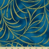 Plume Cotton Fabric - Large Plume - Turquoise CM8664