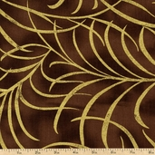 Plume Leaves Cotton Fabric - Chocolate CM8664-CHOCOLATE