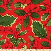 Poinsettia and Holly Holly Mix Cotton Fabric - Red PWMN075-RED