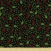 Poinsettia Cotton Fabric - Holly Berry - Black