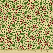 Poinsettia Cotton Fabric - Holly Berry - Cream