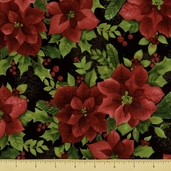 Poinsettia Cotton Fabric - Poinsettias - Black