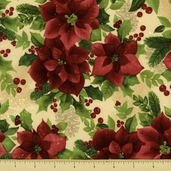 Poinsettia Cotton Fabric - Poinsettias - Cream