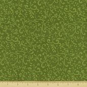 Poinsettia Cotton Fabric - Scroll - Olive