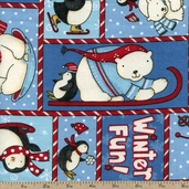 Polar Pals Snow Buddies Flannel Cotton Fabric - Blue 1841-26527-431 - CLEARANCE