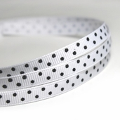 Polka Dotted Grosgrain Ribbon 1/4in. - White/ Black - 27.5yds