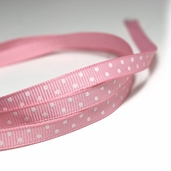 Polka Dotted Grosgrain Ribbon 1/4in. - Pink/ White - 27.5yds