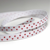 Polka Dotted Grosgrain Ribbon 1/4in. - White/ Red - 27.5yds