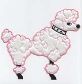 Poodle Iron-On Applique - Pink - Clearance