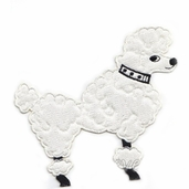 Poodle Iron-On Applique - White - Clearance