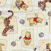 Pooh and Tigger Toss Flannel Fabric - Beige