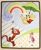 Pooh's Umbrella Friend Cotton Fabric Panel - Multi