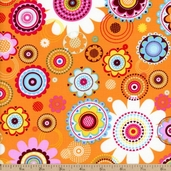 Pop Floral Cotton Fabric - Orange 21727-O