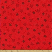 Popcorn and Friends Cotton Fabric - Red Stars