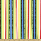 Popcorn and Friends Cotton Fabric - Yellow Stripe