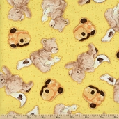 Popcorn and Friends Toss Cotton Fabric - Yellow 1649-22027-S