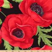 Poppies Large Collage Cotton Fabric - Red FLORA-C1051-RED