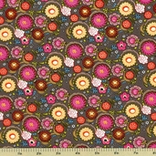 Poppin' Blossoms Cotton Fabric - Gray