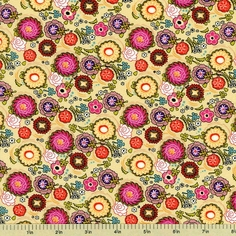 Poppin' Blossoms Cotton Fabric - Yellow - Clearance