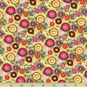 Poppin' Blossoms Cotton Fabric - Yellow