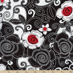 Poppy Lane Swirl Floral Cotton Fabric - Black