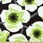 Poppy Modern Large Floral Cotton Fabric - Green