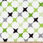 Poppy Modern Star Grid Cotton Fabric - Green