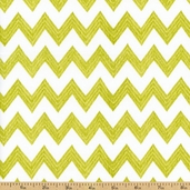 Poppy Patio Chevron Stripe Cotton Fabric - Green