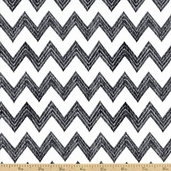 Poppy Patio Chevron Stripe Cotton Fabric - Grey