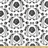 Poppy Patio Damask Cotton Fabric - White