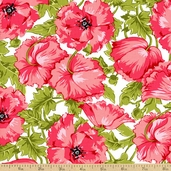 Poppy Patio Floral Cotton Fabric - Pink