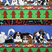 Pound Hound Cotton Fabric - Continuous Stripe