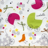 Precious Carriages Cotton Fabric - White