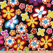 Premium Prints Cartoon Flowers Cotton Fabric - Multi 5296-99 - Clearance