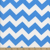 Prestige American Chevron Cotton Fabric - Bonnie Blue / White