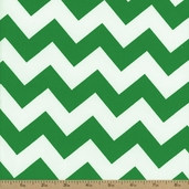 Prestige American Chevron Cotton Fabric - Kelly Green / White