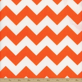 Prestige American Chevron Cotton Fabric - Orange / White