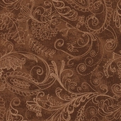Prima Flora Cotton Fabric - Dotty Paisley Brown