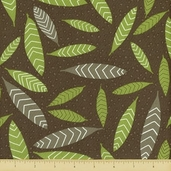 Primativa Cotton Fabric - Falling Leaf - Charcoal