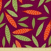 Primativa Cotton Fabric - Falling Leaf - Plum - Clearance