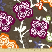Primativa Cotton Fabric - Floral - Charcoal
